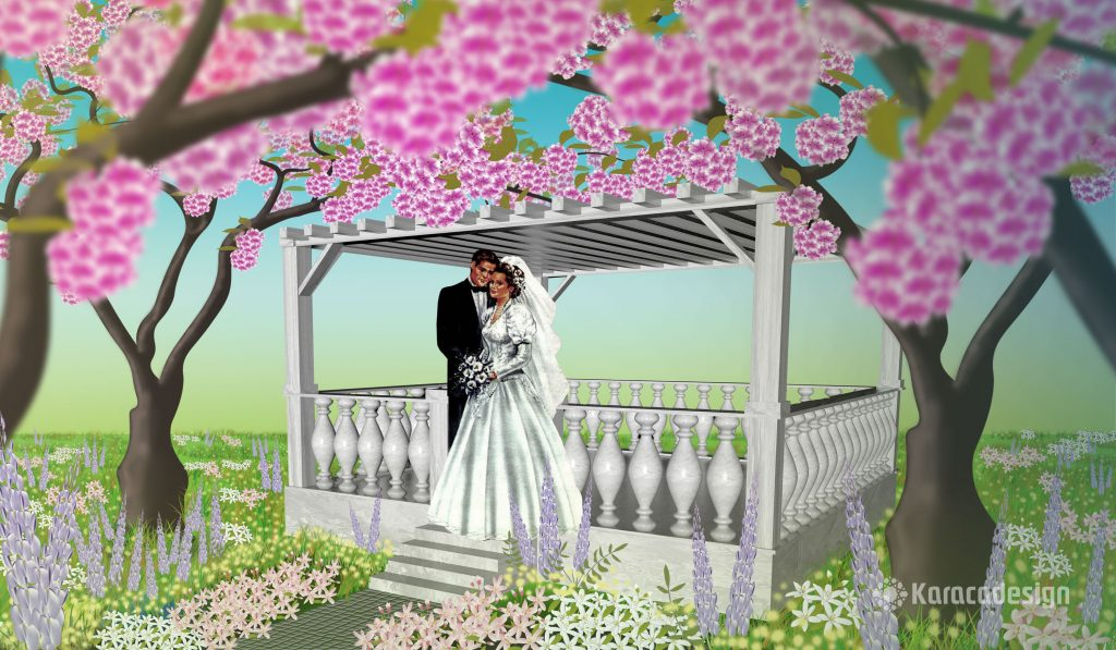 Terasse mit Brautpaar
