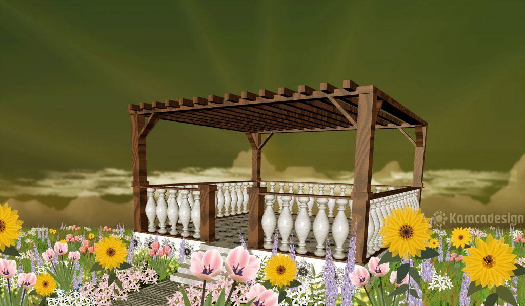 Terrasse mit Sonnenblumen