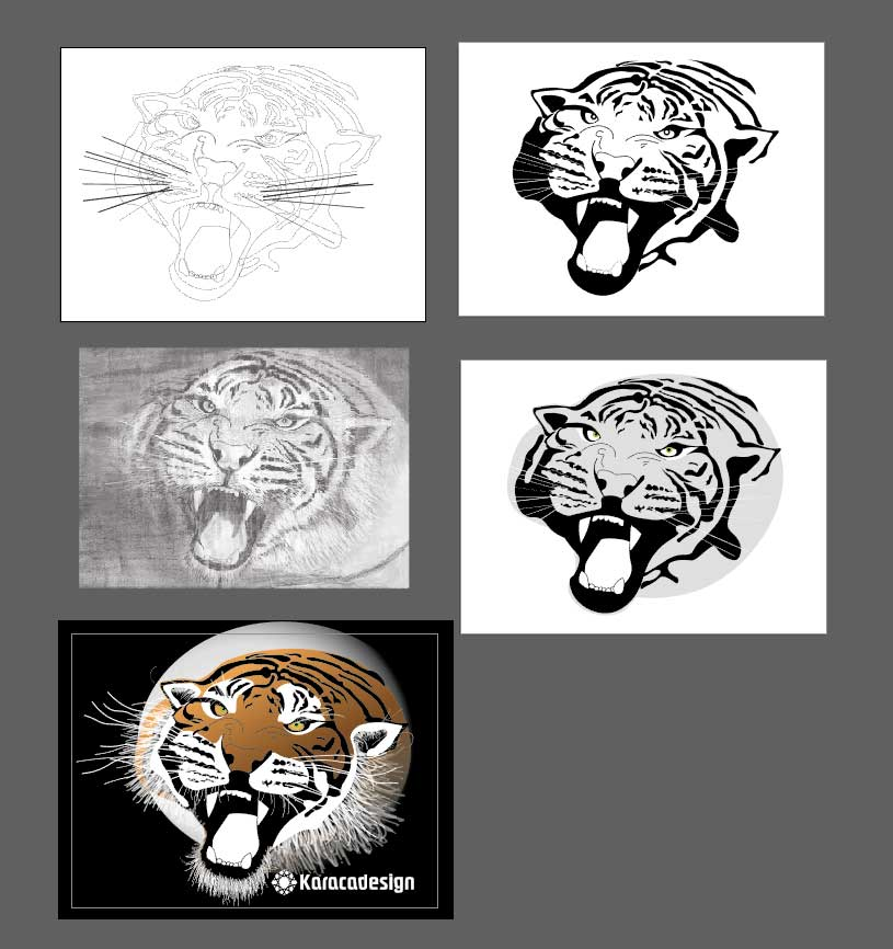 tiger in vector graphics